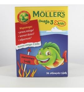 MOLLERS Omega-3 Rybki, żelki, smak owocowy, 36 sztuk