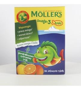 Mollers Omega-3 Rybki, żelki, smak pomarańczowo-cytrynowy,36 szt.